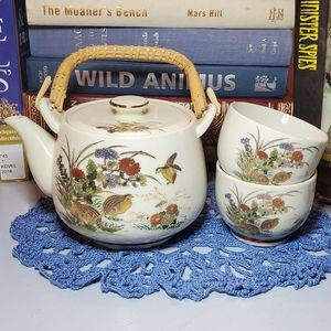 Vtg Asahi Asian Teapot & Two Tea Cups